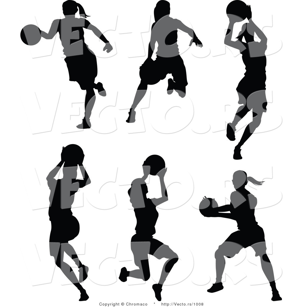 Girl Basketball Silhouette Vector