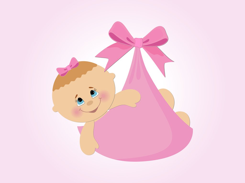 1024x765 Baby Girl Vector Cartoon Vector Art Graphics