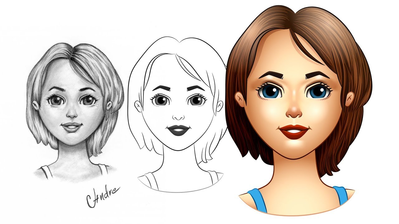1280x720 How To Draw A Vector Cartoon Girl In Adobe Illustrator
