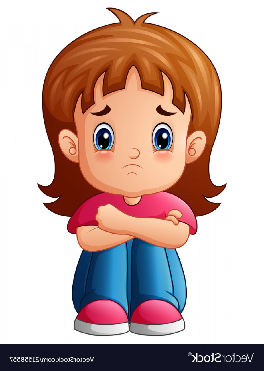 922x1296 Sad Girl Cartoon Sitting Alone Vector Soidergi