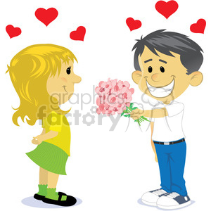 300x300 Boy And Girl Dating Cartoon Vector Clipart Royalty Free Gif